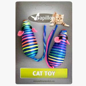 Papillon Zabawka dla kota 2 Myszki tęczowe - 7 cm