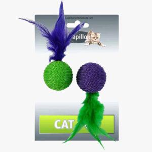 Zabawka 2 piłki z piórkami i grechotkami dla kota