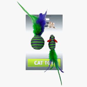 Zabawka Myszka Piłka z piórkami grechotką dla kota
