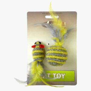 Zabawki Myszka 4cm + Piłka 5cm z grechotką i piórkami dla kotów