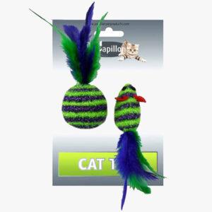Zabawka dla kota Myszka Piłka z piórkami grechotką
