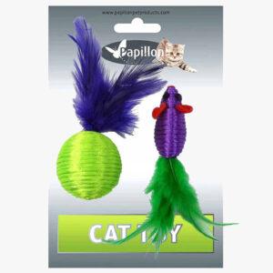 Zabawki Myszka 4cm Piłka 5cm z grechotką dla kota