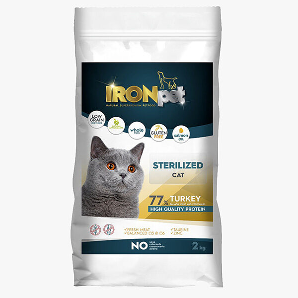 IRONpet Sterilized Indyk 2 kg sucha karma dla kota